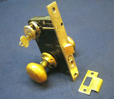 Antique Entry Vestibule Mortise Lock Set Brass Knobs Cylinder Key RUSSWIN 11248