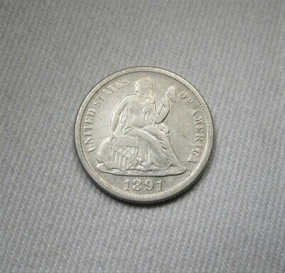 1891-S Silver Seated Liberty Dime VF Details Coin AH537