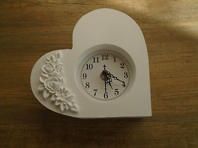 Shabby Chic White  Mantle Bedside Table Heart Shaped  Clock Valentines