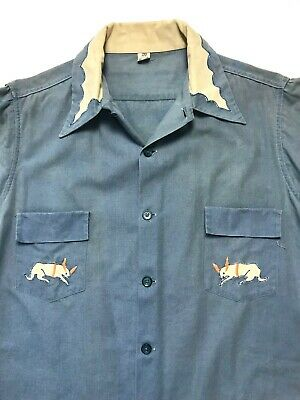 12037c5469 Vtg 30s/40s Embroidered CHAMBRAY Button-Up Shirt S Western WORK WEAR worn  FADED