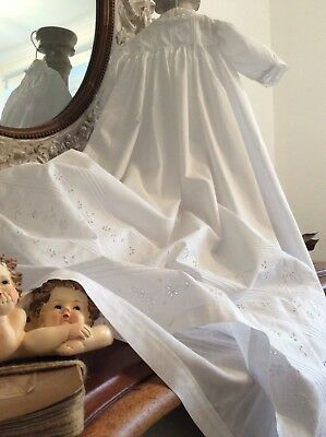 Antique French Christening Gown ~Lawn Cotton & Stunning Floral Broderie Anglaise