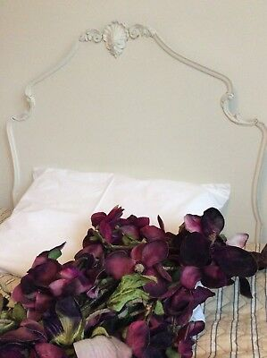 Antique French Wood 3ft Headboard~Beautiful Pediment Crown~Old White Chalk Paint