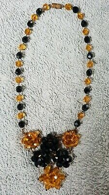 Vintage Art Deco Black And Gold Flower Beaded Statement Necklace