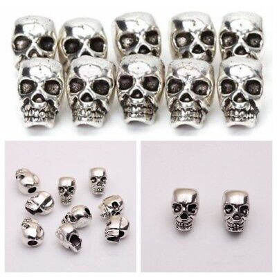 10X Antique Silver Skull Head Spacer Beads Jewelry Bracelet Finding 4mm Nice