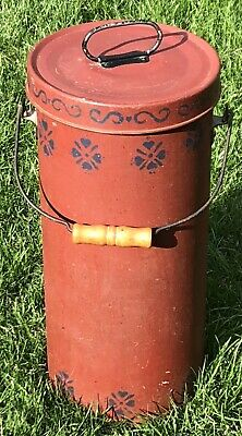 Antique Hvy Tin Galvanized Metal Tall Farm Water Canister Wood Wire Bale Handle