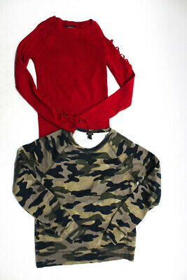 7dc0ab7b Zara Knit J Crew Womens Cold Shoulder Blouse Sweater Red Camo 2XS Small Lot  2