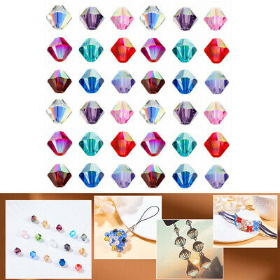 Lot 100pcs Crystal Czech Glass Bicone Loose Spacer Beads 4mm Jewelry Making DIY