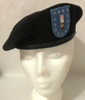 US Military Army Garrison Black Beret + Flash + 1LT Lieutenant Rank Fast Ship 7