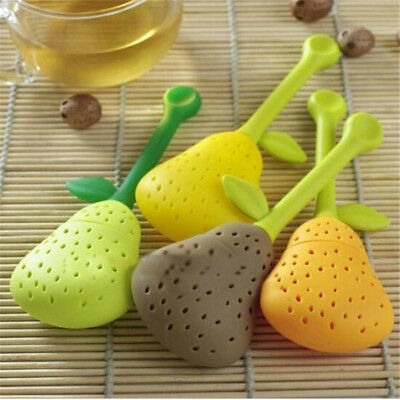Silicone Pear Design Tea Leaf Strainer Herbal Spice Infuser Teapot FilterJCA