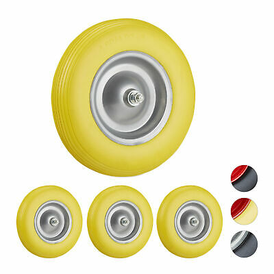 4 x Solid Rubber Wheelbarrow Tyre with Axle, Spare Tire, Steel Rim, Yellow-Grey
