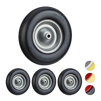 4 x Solid Rubber Wheelbarrow Tyre with Axle, Spare Tire with Steel Rim, Black