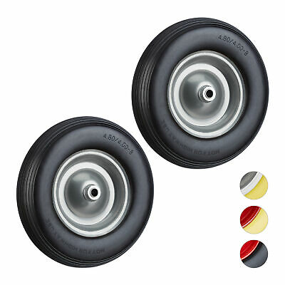 2 x Solid Rubber Wheelbarrow Tyre with Axle, Spare Tire with Steel Rim, Black