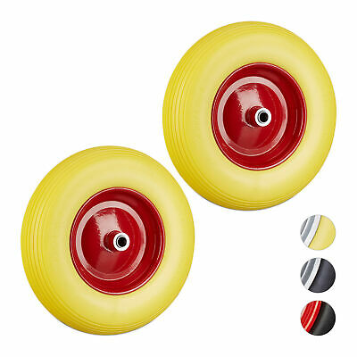 2 x Wheelbarrow 4.80 4.00-8, PU Solid Rubber Tyre, Replacement, Rim, Yellow-Red