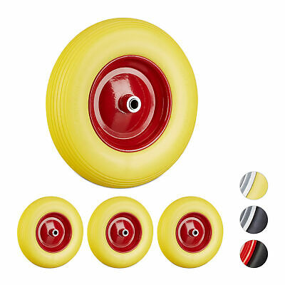 4 x Wheelbarrow 4.80 4.00-8, PU Solid Rubber Tyre, Replacement, Rim, Yellow-Red
