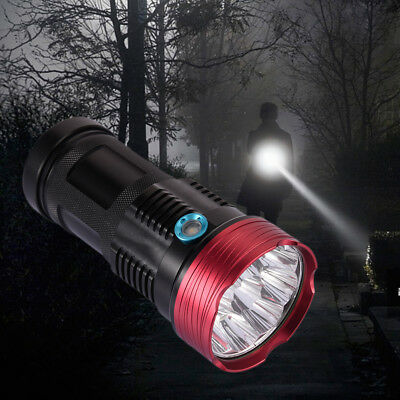 100000LM 10*xml T6 Led Flashlight Super Bright Torch Light Hunting 4*18650 Lamp