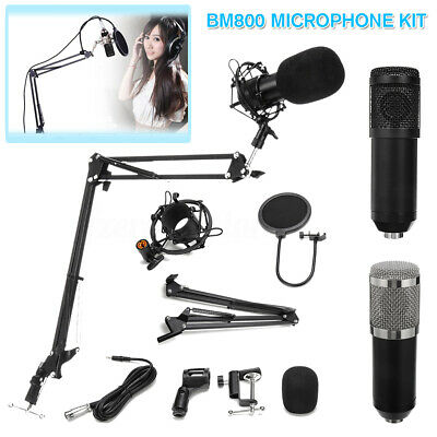 BM800 Condenser Microphone Kit Broadcasting Studio Arm Stand Metal Shock Mount