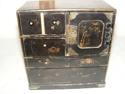 Antique Chinese Miniature Lacquered Cabinet Door Drawers Chinosserie Restore