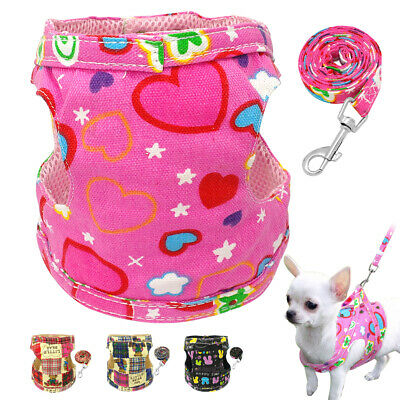 Mesh Padded Small Dog Harness and Leads Pet Puppy Cat Vest Yorkie French Bulldog