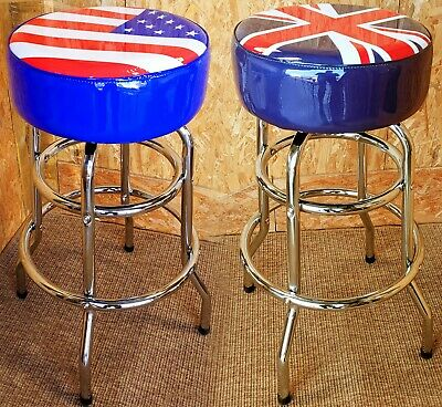 Usa & Uk Flag American Diner Padded Bar Stool Chrome Metal Retro Cafe Union Jack