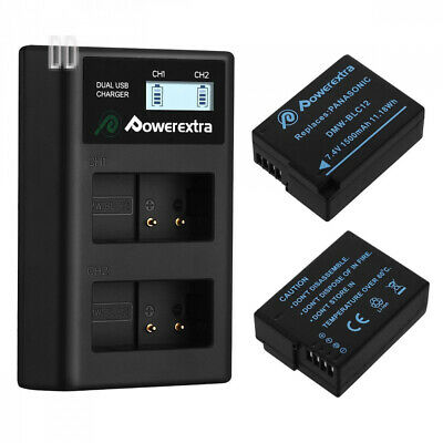 Powerextra 2 X DMW-BLC12 DMW-BLC12E Battery and Dual LCD Charger...