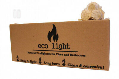 Odourless Natural Large Long Burn Firelighters Eco Friendly ECO LIGHT Huge...