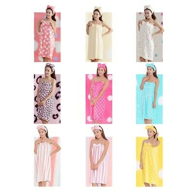 Women Bowknot Bath Robe Towel+Headband Shower SPA Body Wrap Bath Dress Sleepwear