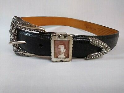 Brighton Women's Sz M Museum Collection Black Leather & Silver Belt Antique