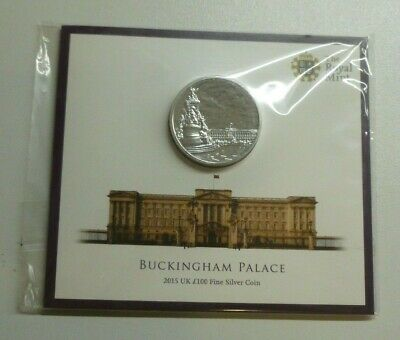 Buckingham Palace .999 Fine Silver BUnc £100 Coin 2015 Royal Mint Pack Sealed
