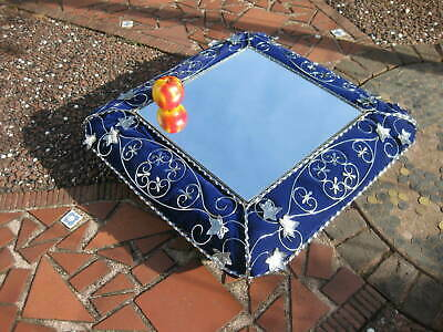 Large Unusual Vintage Cake Stand ~ Wedding /Cup Cakes ~Mirror, Blue Cushion, Ivy