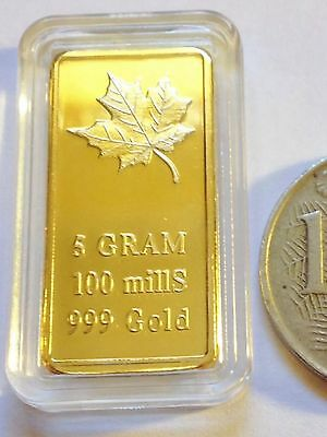 5 Gram 'Canadian Maple Leaf' Ingot Finished In 999 24k Gold 'No Reserve'