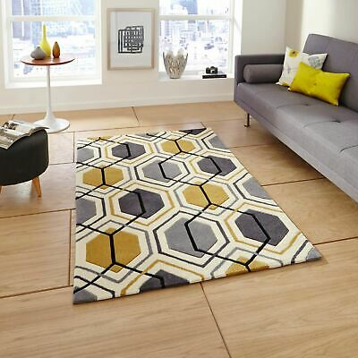 Modern Soft Acrylic Geometric Mat Living Room Hong Kong HK7526 Rugs Grey Yellow