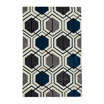 Modern Soft Acrylic Geometric Mat Living Room Hong Kong HK7526 Rugs in Grey Navy
