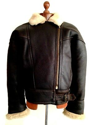 Vtg Womens LEATHER SHEEPSKIN Shearling Flying Pilot Aviator Bomber Jacket Coat