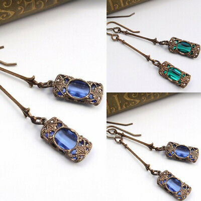 Retro Boho Indian Women Earrings Zircon Green Drop Dangle Ear Stud Jewelry New
