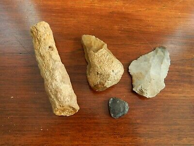 Prehistoric Collection Neolithic Stone Flint Scrapers & Shaft Piece Antiquities