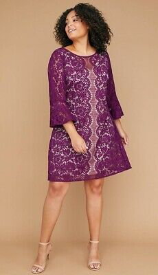 cc920219b53c0 New W Tags Lane Bryant Plus Size Purple Flounce Sleeve Lace Shift Dress Sz  22W