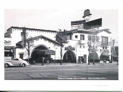 Picture Postcard Of Old Photograph Brown Derby Restaurant In 1930'S Hollywood