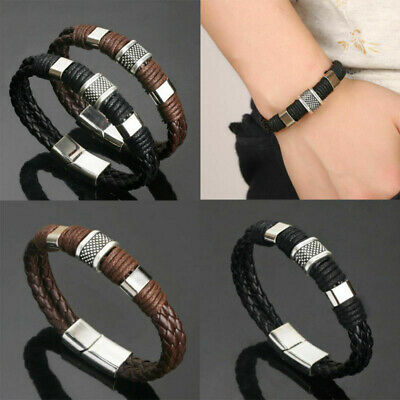 Leather Titanium Steel Magnetic Braided Clasp Bracelet Bangle Men Women Jewelry