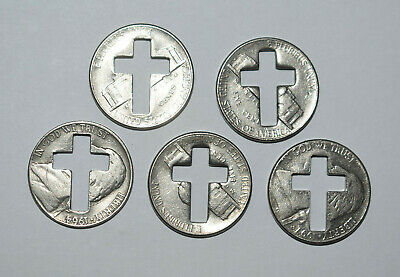 2. Lot Of 5 Nickels With Cut-Out Crosses / Religious Theme
