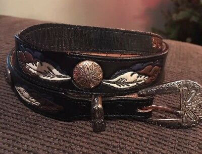 Vintage Leather BRAZOS JOE Western Style Tooled Painted Belt Made in USA