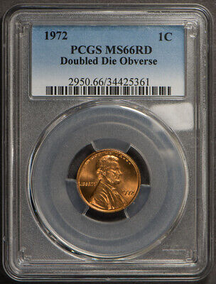 1972 1c LINCOLN MEMORIAL CENT, DOUBLED DIE OBVERSE *PCGS MS66 RED* LOT#L648