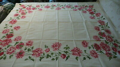 "Vintage Cotton Tablecloth SHADES OF PINK FLOWERS 52""x60"""