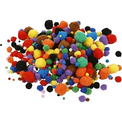 Pack of 150 Pre Made Pom Poms Mixed Sizes and Colours Felt texture Craft CR47