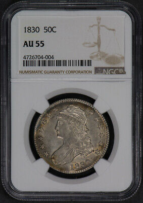 1830 50c CAPPED BUST HALF DOLLAR, NICE TONING & LUSTER *NGC AU 55* LOT#L645