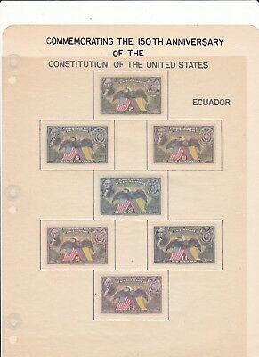 Collection of 150th Anniv of the US Constitution 1937 on  41 Foreign Stamps