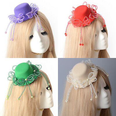 Women Handmade Fascinator Mini Top Pillbox Hat Beads Bow Hair Clip Wedding Party