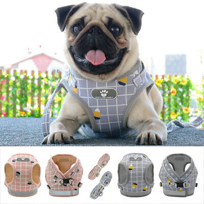Reflective Mesh Padded Small Dog Harness and Leads Pet Puppy Cat Vest Pink Gray