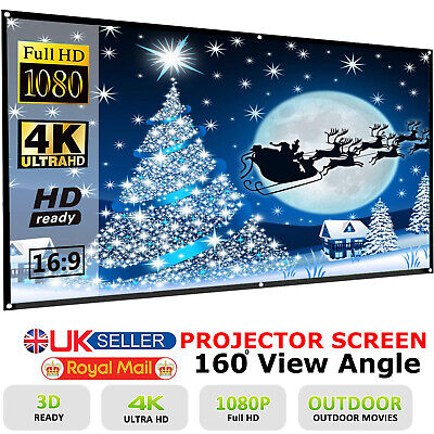 "Portable 100"" Projector Projection Screen 16:9 Matte 3D HD Home Cinema Theater"