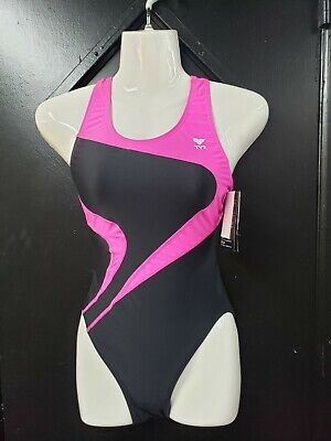 818866d48f TYR Alliance T-Splice Maxfit SWIMSUIT One Piece Black and Pink Ladies Swim