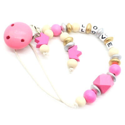 CandyPink Pacifier Clip Chain Holder Wood Silicone Beads Nipple Dummy HoldeJCA